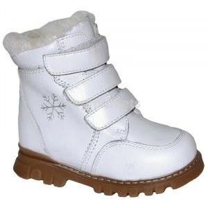 Детские зимние ортопедические ботинки Ortek 65095 белые